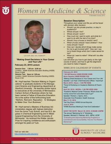 2010 January Newsletter - University of Utah - School of Medicine