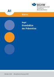 BGR A1 Grundsätze der Prävention - Berufsgenossenschaft Handel ...