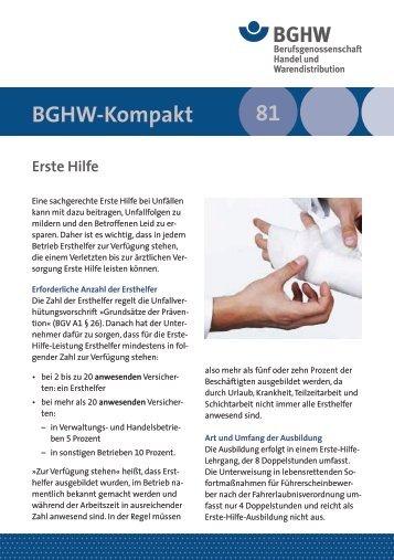 114 81 BGHW-Kompakt - Berufsgenossenschaft Handel und ...