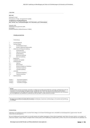 BGG 925 - Berufsgenossenschaft Handel und Warendistribution