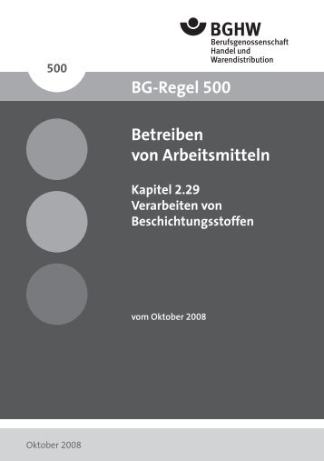 BGR 500 - Berufsgenossenschaft Handel und Warendistribution