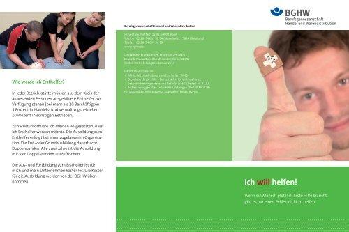Ich will helfen! - Berufsgenossenschaft Handel und Warendistribution