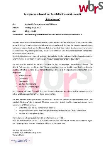 """Lehrgang zum Erwerb der Rehabilitationssport-Lizenz B """"P8 ..."""