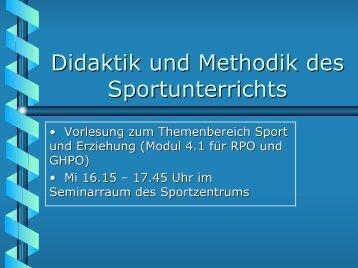 Didaktisch-methodisches Handeln im Sport