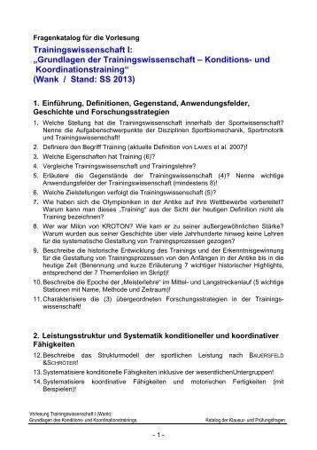 "Trainingswissenschaft I: ""Grundlagen der Trainingswissenschaft ..."