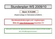 Stundenplan WS 2009/10 - Hochschulsport