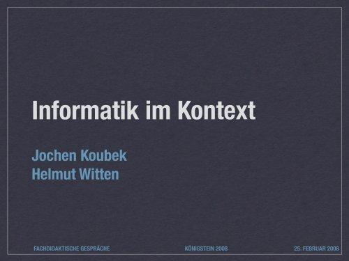 Informatik im Kontext