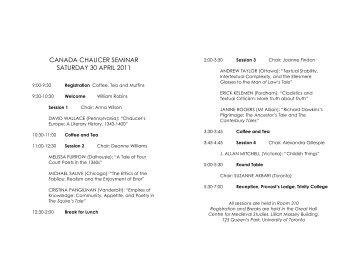 Program - Centre for Medieval Studies - University of Toronto