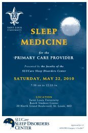 SLEEP MEDICINE for Primary Care Provider - Saint Louis University ...