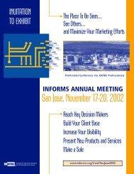 INFORMS ANNUAL MEETING San Jose, November 17-20, 2002