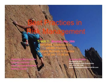 Best Practices in Risk Management