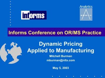 Dynamic Pricing Applied to Manufacturing