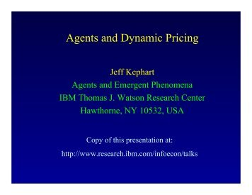 Agents and Dynamic Pricing