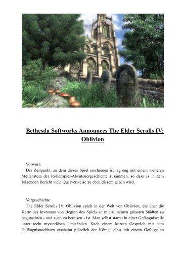 Bethesda Softworks Announces The Elder Scrolls IV: Oblivion