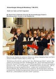 Bückeburger Bachfest vom 5. Mai 2013 Kurz-Rezension