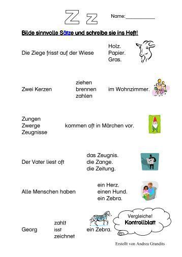 Arbeitsblatt Vorschule deutsche sätze bilden : Wiebke Heuer Vom