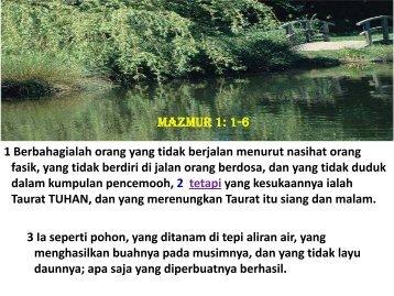 Hidup tanpa Penyesalan Mazmur 1: 1-6 - Webs