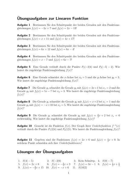 Aufgaben zur Linearen Funktionen Hier stehen einige ...