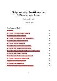 Liste der wichtigsten DOS-Funktionen Hier sind die wichtigsten DOS ...