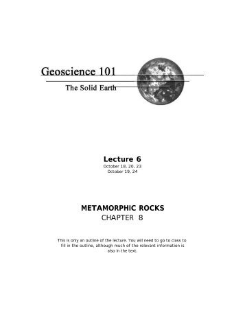 Lecture 6 METAMORPHIC ROCKS CHAPTER 8 - Members.efn.org