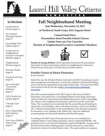 Most Recent LHVC Publication - City of Eugene