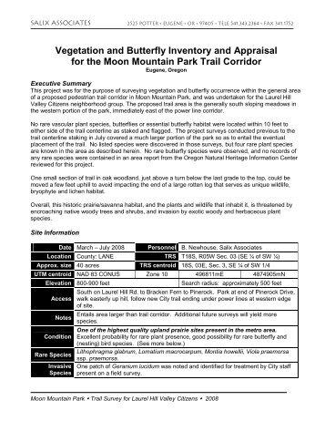 Moon Mountain Park trail survey report 2008-07-23 - Members.efn.org