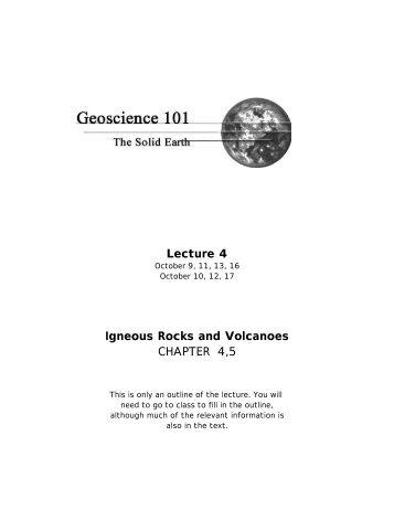 Lecture 4 Igneous Rocks and Volcanoes ... - Members.efn.org