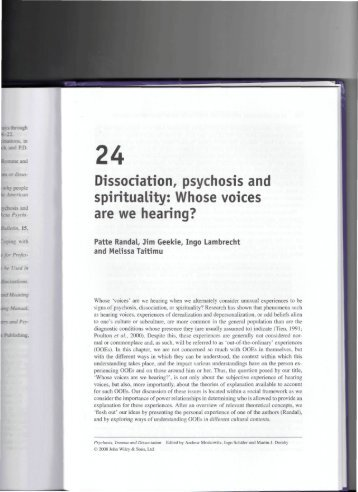 Dissociation, psychosis and spirituality: Whose ... - Members.efn.org