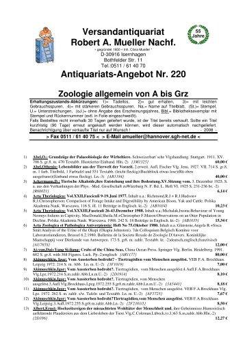 Antiquariats-Angebot Nr. 220 Zoologie allgemein von ... - Antikbuch24