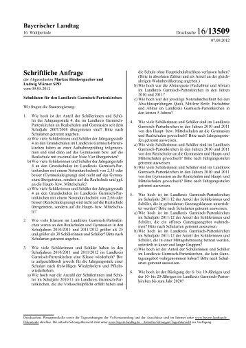 Schuldaten für den Landkreis Garmisch-Partenkirchen