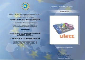 CERTIFICAT D'ENREGISTREMENT CERTIFICATE OF ...