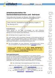 Arbeitsmaterialien Seniorenbetreuung - Werbung