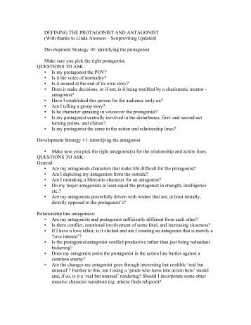 Protagonists and Antagonist Checklists