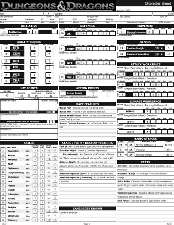 Dungeon And Dragon 2nd Edition Character Generator