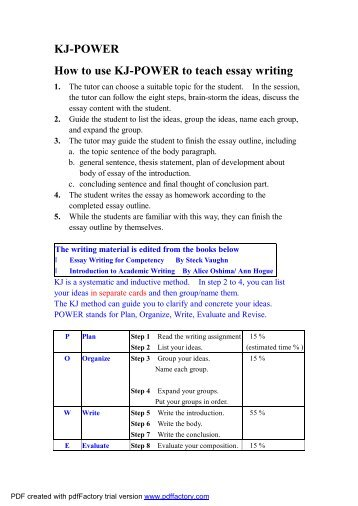 writing project english essay illustration constraints ~ kj power how to use kj power to teach essay writing
