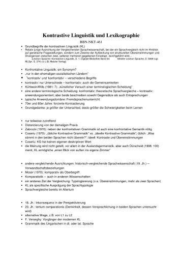 Kontrastive Linguistik und Lexikographie - Upc