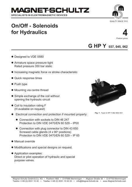On/Off - Solenoids for Hydraulics - Upc