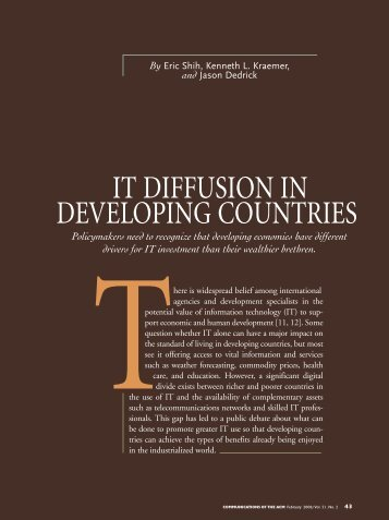 it diffusion in developing countries - PCIC Personal Computing ...