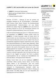 Pressemitteilung: LEARNTEC 2013 zeichnet Bild vom Lernen der ...