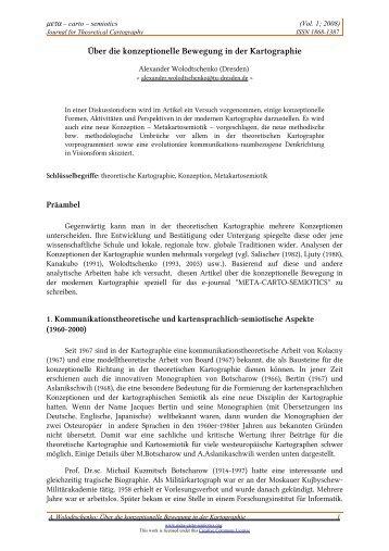 Über die konzeptionelle Bewegung in der Kartographie - Meta-Carto ...