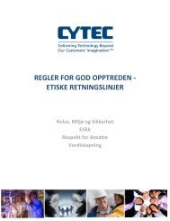 regler for god opptreden - etiske retningslinjer - CYTEC Industries