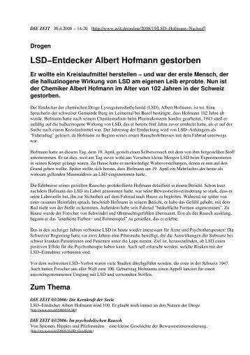 LSD−Entdecker Albert Hofmann gestorben