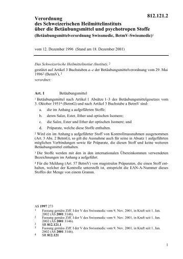 Verordnung des Schweizerischen Heilmittelinstituts vom 12 ...