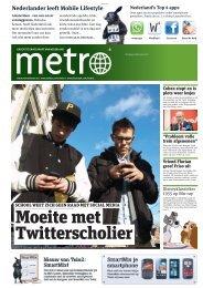 Moeite met Twitterscholier - Metro