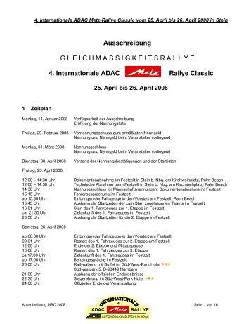 Ausschreibung - Metz Rallye Classic