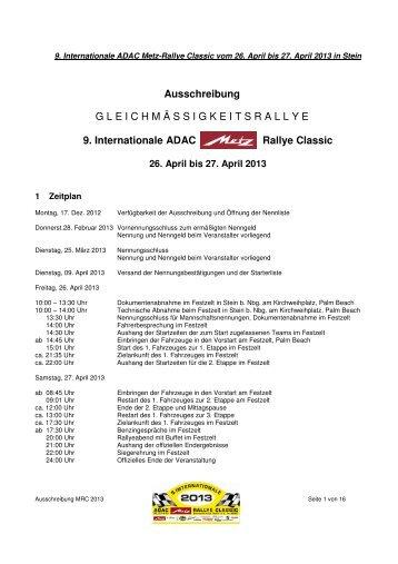 Ausschreibung 2013 - Metz Rallye Classic