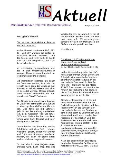 Ausgabe 04 2013 - Heinrich Metzendorf Schule