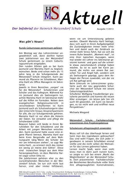 Ausgabe 07 2013 - Heinrich Metzendorf Schule