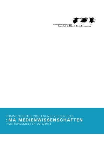 MA-Kommvor Wintersemester 2012-13 - Medienwissenschaften