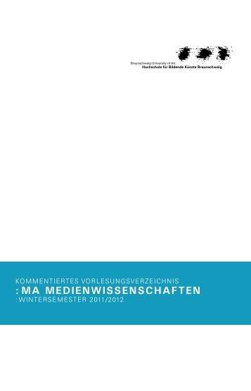 Master - Wintersemester 2011/12 - Medienwissenschaften